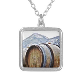 Wine Barrels in British Columbia Square Pendant Necklace