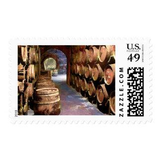 Wine Barrels in the Wine Cellar Postage