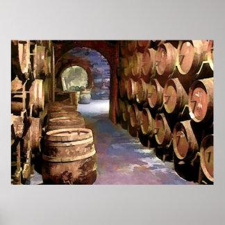 Wine Barrels in the Wine Cellar Print