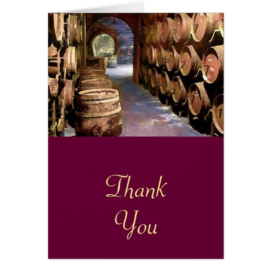 Wine Barrels in the Wine Cellar Thanks Card