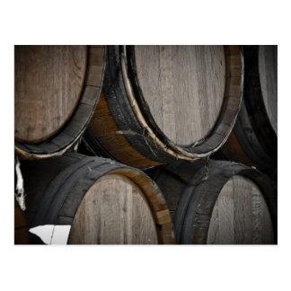 Wine Barrels used to Store Vintage Wine Postcard