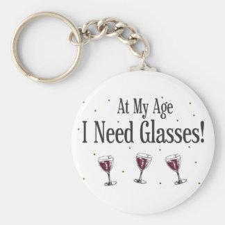 Wine Basic Round Button Keychain
