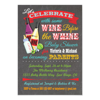 Wine before the Whine Baby Shower Invites