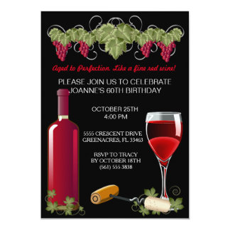 Wine Birthday Party Adult Aged To Perfection Card