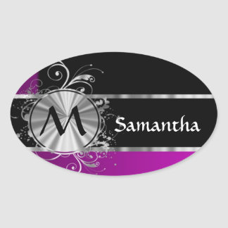 Wine black and silver monogram oval sticker