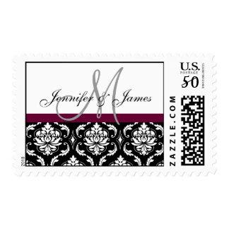 Wine Black White Damask Wedding Monogram Postage