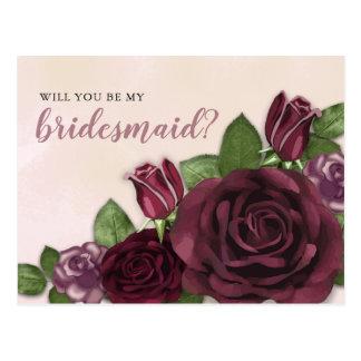 Wine | Blush | Mauve Floral Bridesmaid Request Postcard
