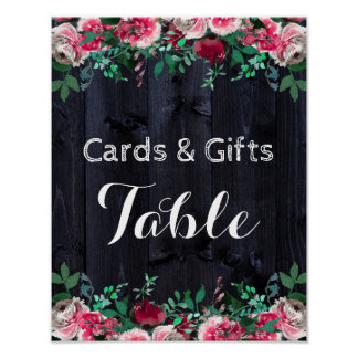 Wine Blush & Navy Wood Chic Wedding Cards & Gifts Poster