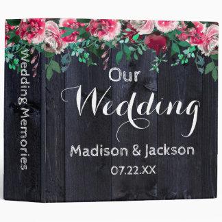 Wine Blush Navy Wood Peony Wedding Photo Album 3 Ring Binder