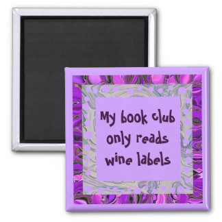 wine book club 2 inch square magnet
