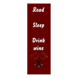 Wine~bookmark leído de la bebida del sueño tarjetas de visita mini