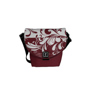 Wine Bordeaux/White Swirls Courier Bag