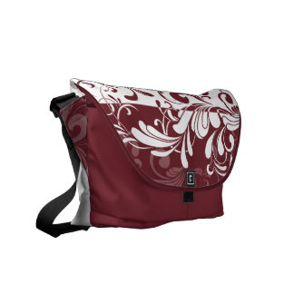 Wine Bordeaux White Swirls Shoulder Messenger Bag