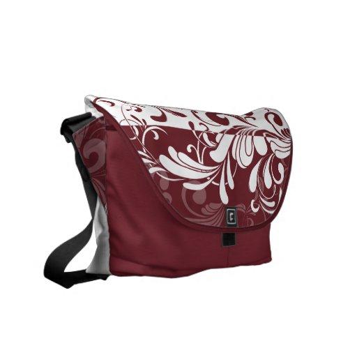 Wine Bordeaux/White Swirls Shoulder Messenger Bag