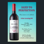 "Wine Bottle Aged to Perfection | Invitation Card<br><div class=""desc"">Celebrate a birthday milestone with this design artwork of a wine bottle with customised text against a coral blue background colour. Perfect for any vintage age or birthdays!</div>"