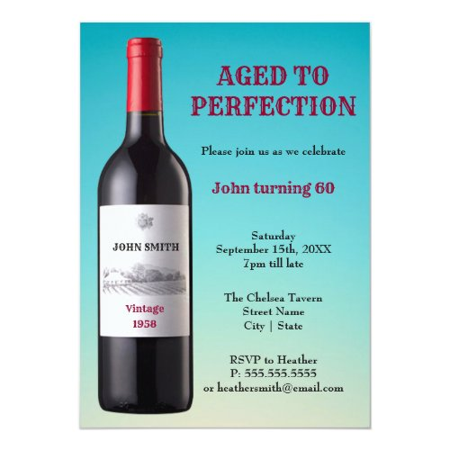 Wine Bottle Aged to Perfection  Invitation Card