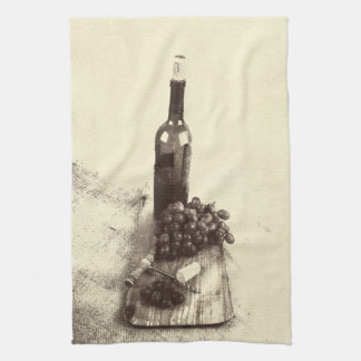 wine bottle and corks on rustic wooden texture towels