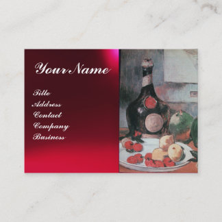 WINE BOTTLE AND FRUITS ,RED WAX SEAL MONOGRAM BUSINESS CARD