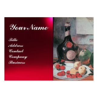 WINE BOTTLE AND FRUITS ,RED WAX SEAL MONOGRAM LARGE BUSINESS CARDS (Pack OF 100)