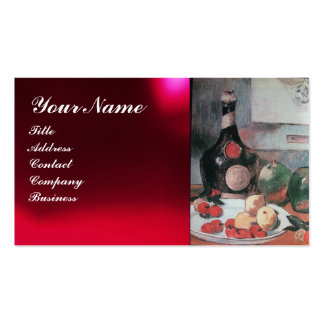 WINE BOTTLE AND FRUITS ,RED WAX SEAL MONOGRAM Double-Sided STANDARD BUSINESS CARDS (Pack OF 100)