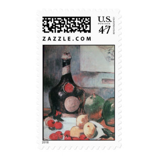 WINE BOTTLE AND FRUITS STAMP