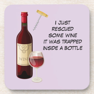 Wine bottle and glass illustration coaster