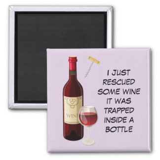 Wine bottle and glass illustration magnet