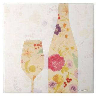 Wine Bottle and Glass Large Square Tile