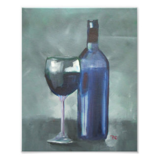 Wine Bottle and Glass Original Oil Painting Photo Print