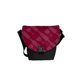 Wine Bottle and Glass Pattern Messenger Bag