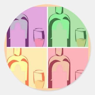 Wine Bottle and Glass Pop Art Classic Round Sticker