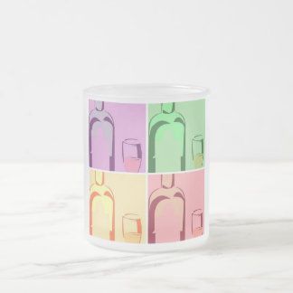 Wine Bottle and Glass Pop Art Frosted Glass Coffee Mug