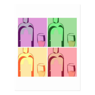 Wine Bottle and Glass Pop Art Postcard