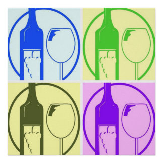 Wine Bottle and Glass Pop Art Poster