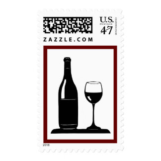 Wine Bottle and Glass Postage
