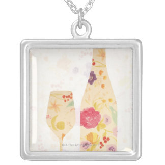 Wine Bottle and Glass Square Pendant Necklace
