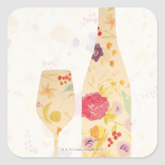 Wine Bottle and Glass Square Sticker