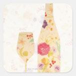 Wine Bottle and Glass Sticker
