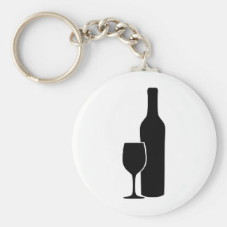 wine bottle and glass vintner icon keychain