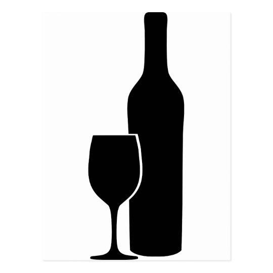 wine bottle and glass vintner icon postcard