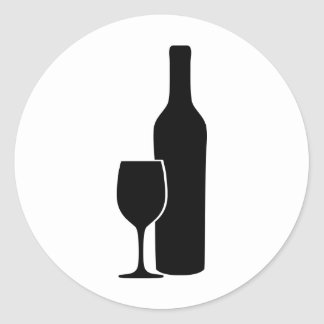 wine bottle and glass vintner icon round stickers