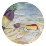 Wine Bottle and Glasses on the Beach Plate