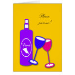 Wine Bottle And Glasses Party Invitations Stationery Note Card