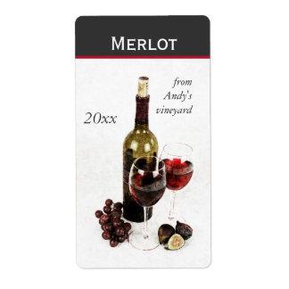 wine bottle and glasses wine bottle sticker label