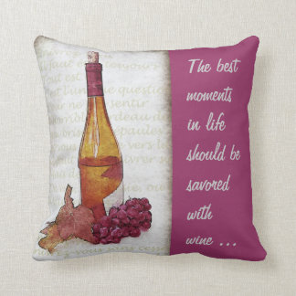 wine bottle and grape with wine quote throw pillow