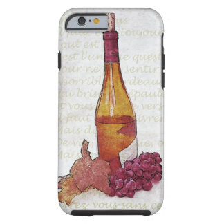 Wine bottle and grapes tough iPhone 6 case