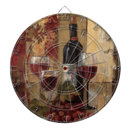 Wine Bottle and Wine Glasses Dartboard With Darts