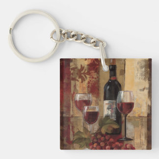 Wine Bottle and Wine Glasses Keychain