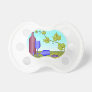 Wine bottle and wine glasses pacifier