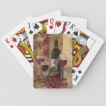 "Wine Bottle and Wine Glasses Playing Cards<br><div class=""desc"">&#169; Silvia Vassileva / Wild Apple.  An image of three wine glasses and a wine bottle. The glasses are filled with red wine,  and a bunch of red grapes can be seen beside the glasses.</div>"